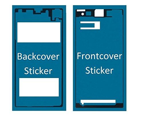 MMOBIEL Sticker Set Für Sony Xperia Z1 Front + Rückseite Backcover doppelseitiger Kleber Glue zum befestigen von LCD Front und Akkudeckel inkl. Tuch und 2er Set Wet & Dry Reinigungs Pads