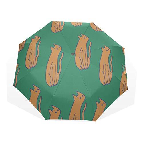 Paraguas de Viaje Dibujos Animados Moda Divertida Animal Mascota Gato 3 Fold Art Umbrellas (Paraguas Protección Solar Sombrilla Paraguas de Viaje Sombrilla