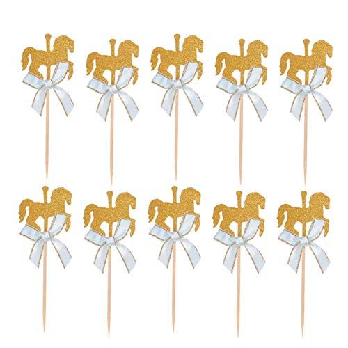 Toyvian 20 Stück Glitzer Karussell Kuchen Topper | Schöne Kuchendekoration | Bogen Pferd Kuchendeko für Baby Geburtstagstorte Dekoration Hochzeit Party Dekoration (Blauer)