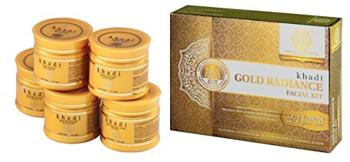 Khadi Natural Herbal Ayurvedic Gold Radiance Facial Kit with Cleanser, Gel Scrub, Massage Cream, Facial Gel, and Facial Pack for All Skin Types (75 g)