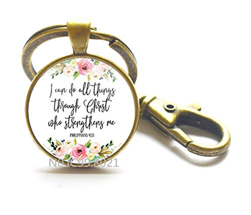 Jephne Philippians 4:13 I can do All Things Bible Verse Keychain Inspiration