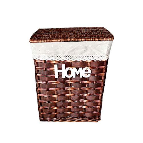 Shengluu Cesta de almacenamiento con tapa, caja de almacenamiento de mimbre, cesta de almacenamiento de escritorio, caja de acabados, caja de desechos tejido (color: E, tamaño: S-37 x 26 x 50 cm)
