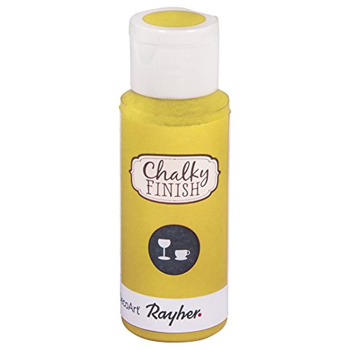 Rayher Chalky Finish Paint Bottle for Glass, Yellow Light, 59 ml