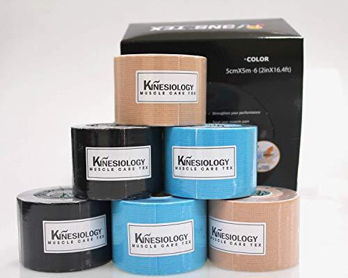 3NS TEX Kinesiology Tape-Baumwolle 5 cm x 5 m 2xBeige, 2xBlue, 2xBlack