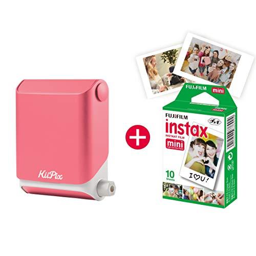 KiiPix Fotodrucker Pink, Smartphone Kompatibler Sofort-Fotodrucker, Mit Fujifilm Instax Mini Starterpaket, Polaroid- Bilder,Minidrucker fürs Handy, Gadgets fürs Smartphone