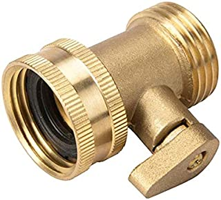 Garden Hose Brass Shut Off Valve, 3/4'' Thread Heavy Duty Water Hose Connector Shutoff Ball Valve Faucet Hose Adapter