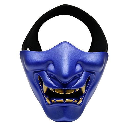 Aoutacc Airsoft Half Face Masks, Evil Demon Monster Kabuki Samurai Hannya Oni Half Face Protective Masks for Masquerade Ball, Party, Halloween, Cs War Game, BB Gun(Blue)