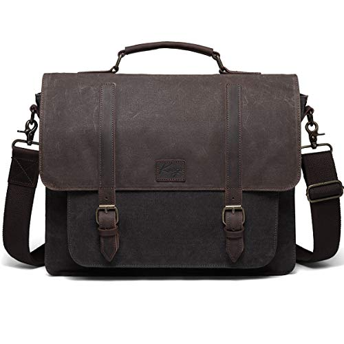 Messenger Bag for Men, Kasgo Water Resistant Waxed Canvas Genuine Leather Briefcase Fits 15.6 inch Laptop Vintage Business Satchel Shoulder Bag with Removable Strap Gray and Brown
