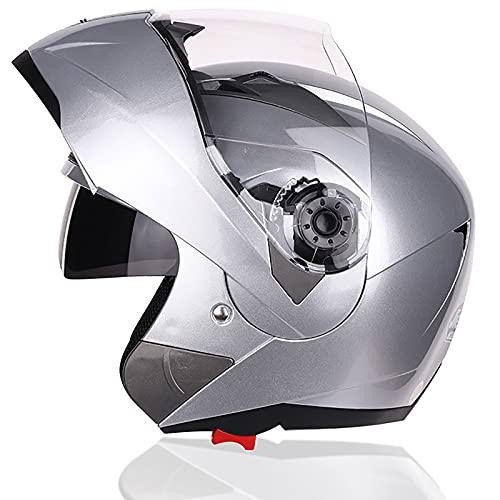 LYQCZ Casco Integral Casco Moto Casco Integral Moto Modular, Cascos De Ciclomotor con Viseras.El Cabezal AnticolisióN Protege La Seguridad Vial De Los Usuarios(Color:Silver,Size:M)