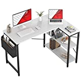 Small L Shaped Computer Desk, Homieasy 47 Inch L-Shaped Corner Desk with Reversible Storage Shelves for Home Office Workstation, Modern Simple Style Writing Desk Table with Storage Bag(White)