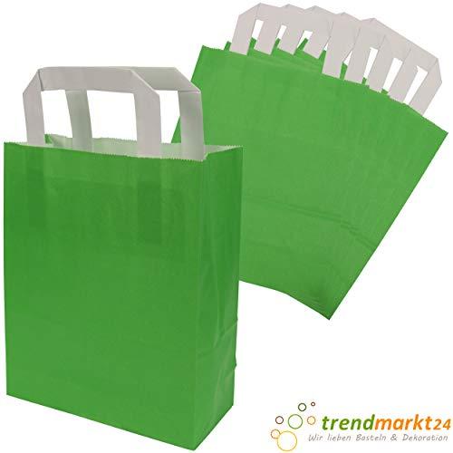 trendmarkt24 Papiertragetaschen grün 6 Stück mit Papiergriff Papiertüten ca. 18x22x8 cm Papiertaschen Kraftpapier Geschenkstüten Einkaufstüten Papiertragetüten basteln | 23294-A