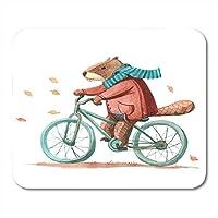 マウスパッドブラウン動物水彩ビーバーでスカーフ乗馬自転車マウスパッドノートブック、デスクトップコンピューターマウスマット、オフィス用品