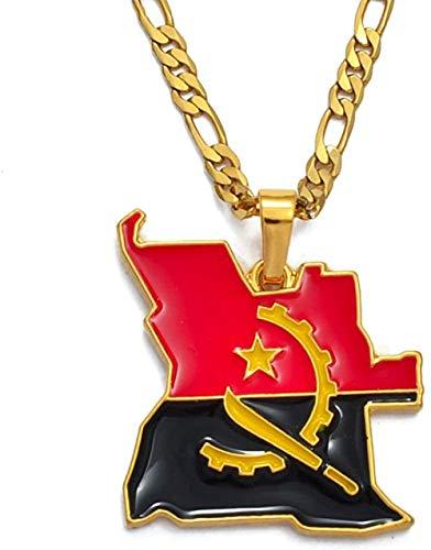 YZXYZH Collar De Mapa Y Bandera De Angola, Colgante Africano De Color Dorado, Joyería, Mapas De Países Angoleños para Mujeres/Hombres, 60 Cm