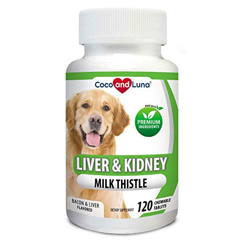 Milk Thistle for Dogs, Liver Support for Dogs, Detox, Hepatic Support, Promotes Liver and Kidney Healthy Function for Pets, VIT B1,B2,B6,B12-120 Chew-able Tablets