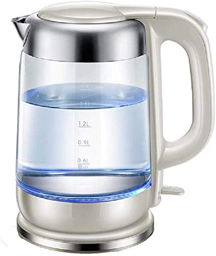 Tetera silbante Tetera Creativa Tetera de Vidrio Hervidor electrico 1.7 L Eco Water Kettle Caldera de Agua Acero Inoxidable 1800W Gray 21.5x25.2cm WHLONG