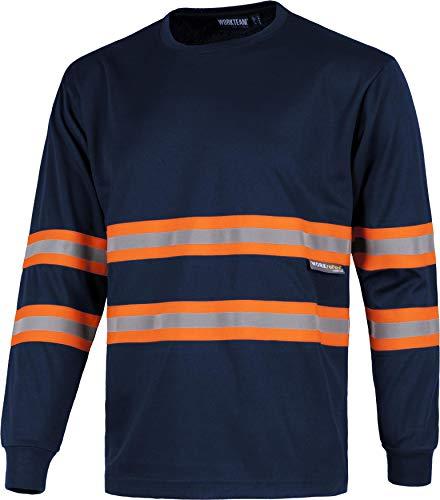 Work Team Camiseta Manga Larga, Cuello Redondo, Alta Visibilidad, Cintas Reflectantes combinadas. Unisex Marino+Naranja A.V. Large