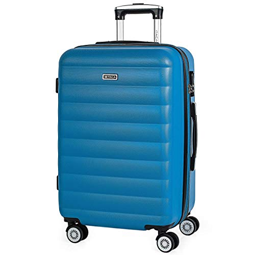 ITACA - Maleta trolley expandible 60 cm mediana ABS bicolor. Rígida, resistente, robusta y ligera. Mango telescópico, 2 asas retráctiles. 4 ruedas. Talla media. 71260, Color Ciano blu