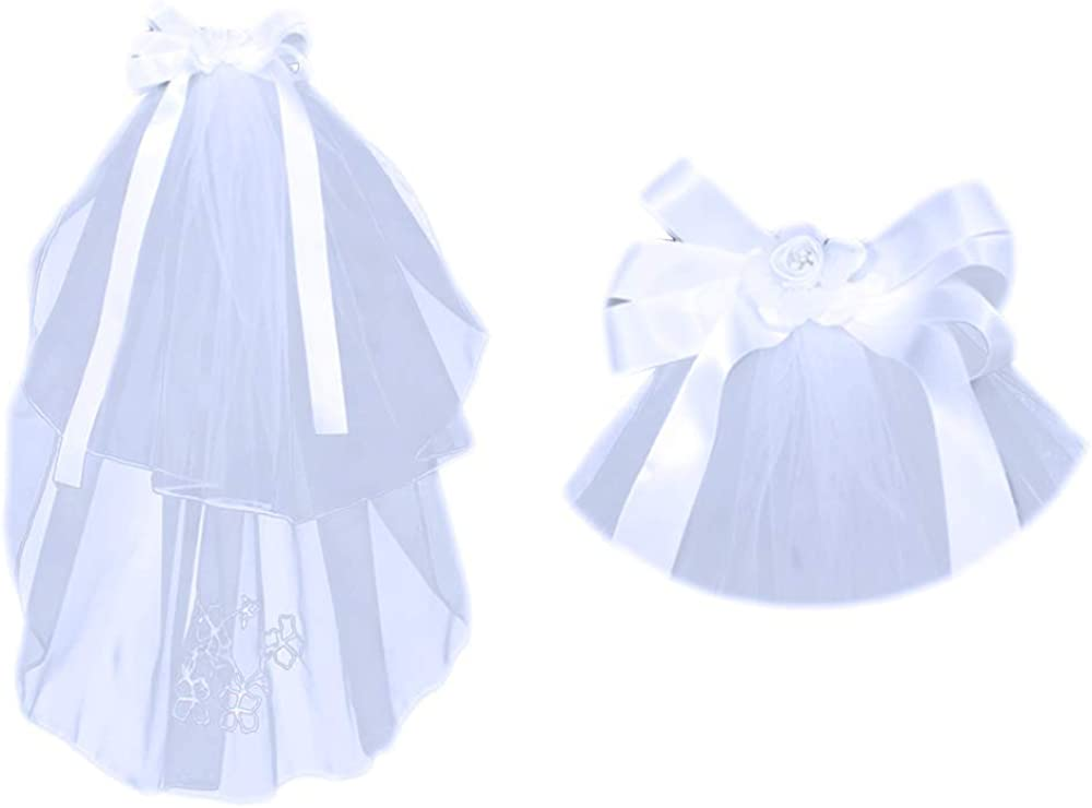First Communion Veil (Bow, Ribbon and Flower)