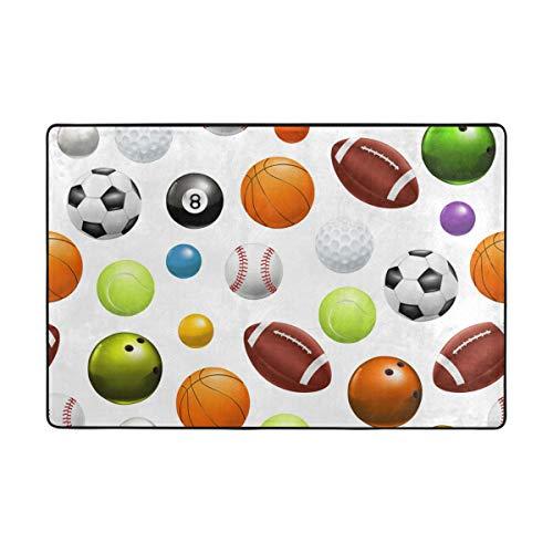 Jeansame - Felpudo interior para interior de entrada, para cocina, sala de estar, lavable a máquina, bonito, baloncesto, fútbol, fútbol, deportes, 90 x 60 cm