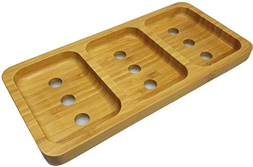 Elegante 3-Fach Seifenschale aus natürlichem Bambusholz für Bad/Dusche/Küche mit Wasserablauf und Luftzufuhr von unten zur Trocknung der Seifen, hygienisch, rutschfest
