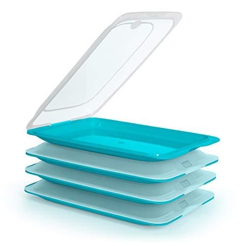 K&G - Juego de 4 fiambreras planas apilables de alta calidad, ahorran espacio, con bandeja para servir integrada, recipientes herméticos para el frigorífico