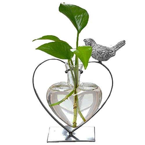 Marbrasse Jarrón de Cristal hidropónico, Maceta con Soporte para decoración del hogar, Moderno pájaro Creativo, Soporte para terrario de Plantas de Gato, contenedor Scindapsus