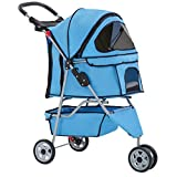 Dog Stroller Pet Stroller Cat Stroller for Medium Small Dogs Foldable Travel 3 Wheels Waterproof Puppy Stroller,Blue