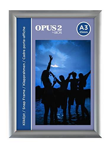 OPUS 2 Klapprahmen A3 mit 25 mm Aluminium-Profil - aufklappbarer Plakatrahmen mit Gehrungsecke - Schnapprahmen für u.a. Poster, Zertifikate, Fotos & Werbemittel - Silber