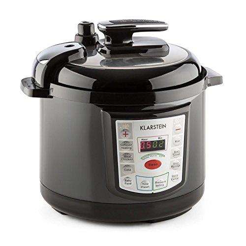 KLARSTEIN Fast Flavour Olla a presión multifunción (900W, fácil y rápido manejo, 5 litros de Capacidad, conservación de la Temperatura) - Negro