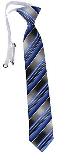 TigerTie Security Sicherheits Krawatte in blau hellblau silber anthrazit grau gestreift - vorgebunden mit Gummizug