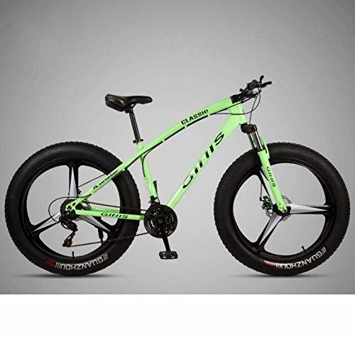 LJLYL Bicicleta de montaña para adultos, 26 × 4 pulgadas Fat Tire MTB Bike, Hardtail de acero con carbono, horquilla delantera amortiguadora y doble freno de disco, color verde, tamaño 24 speed