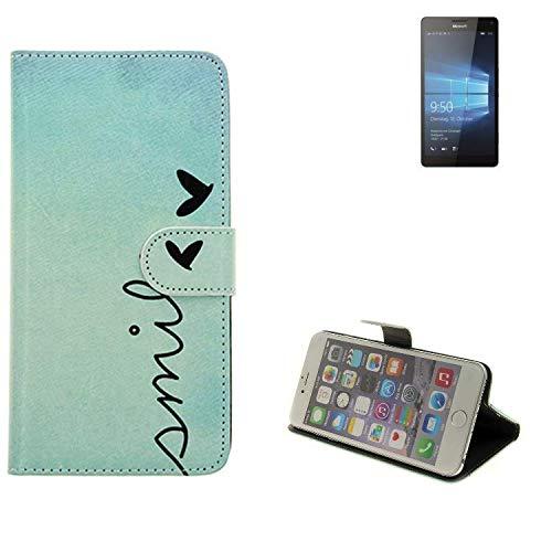 K-S-Trade® Schutzhülle Für Microsoft Lumia 950 XL Dual SIM Hülle Wallet Case Flip Cover Tasche Bookstyle Etui Handyhülle ''Smile'' Türkis Standfunktion Kameraschutz (1Stk)