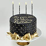 Black Gold Birthday Cake Candles | Luxurious Long Thin Holiday Candle Set | Unique Tall Cupcake Sparklers for Birthday Anniversary Graduation Retirement Party Decoration