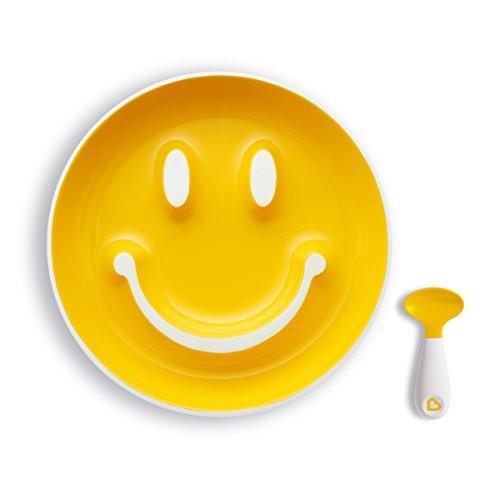 Munchkin Smile 'n Scoop Kinderbord- en lepelset Bord en lepel Training Plate geel