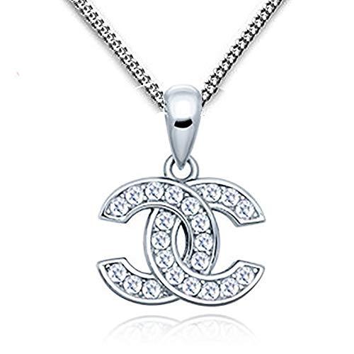 findout Damen Sterlingsilber blau Weiß Kubische Zirconia Schneeflocke Anhänger Goldfisch Halskette für Frauen Mädchen (f1738) (Silver)