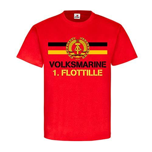Volksmarine 1 Flottille NVA DDR Nationale Volksarmee Marine T Shirt #18394, Farbe:Rot, Größe:XXL