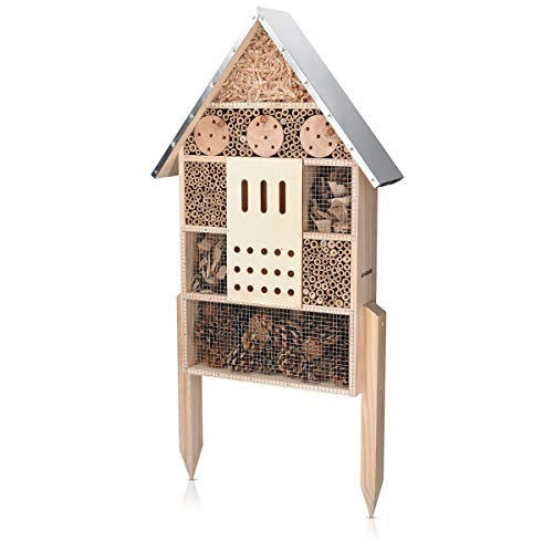 Navaris XL Wooden Insect Hotel - 38 x 11.5 x 57 cm - Natural Wood Insect House - Garden Shelter Bamboo Nesting Habitat for Bees Butterflies Ladybirds