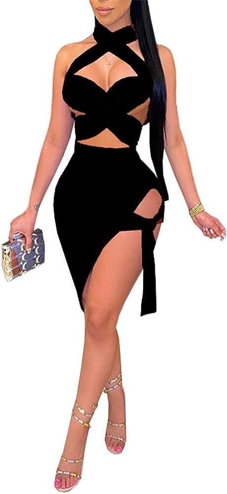 Womens Sexy 2 Piece Outfits Halter Neck Clubwear Bodycon Bandage Midi Dress Sets