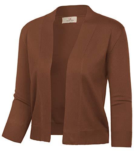 GRACE KARIN Women's Open Front Knit Cropped Bolero Shrug Cardigan Sweater for Dress (Dark Brown,M