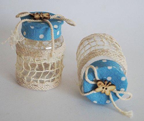takestop® Set van 12 snoepjes bonnièreblik blauw Pois 4 x 6,5 cm kunststof net vlinders confetti bruiloft verjaardag