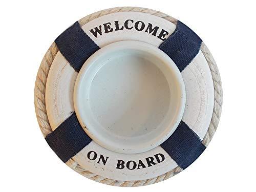 Unbekannt Maritimer Teelicht-Halter Rettungsring Welcome on Board - Kerzenhalter für Teelichter in Rot oder Blau (58432-A)