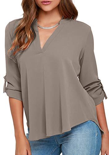 YMING Frauen Cuffed Sleeve Bluse Shirt Sexy V-Ausschnitt Tops Solid Color Shirt Grau XL
