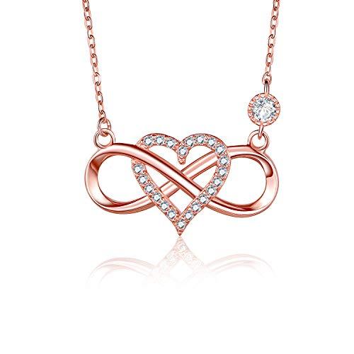 BlingGem Damen Ketten Unendlichkeit Herz Rotgold vergoldet 925 Sterling Silber Halskette Zirkonia Für Immer Zusammen Silberkette Geschenk für Frauen