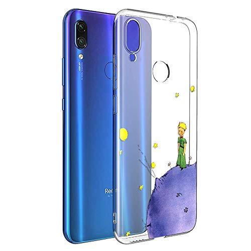 YOEDGE Funda Xiaomi Redmi Note 7 Ultra Slim Cárcasa Silicona Transparente con Dibujos Animados Diseño Patrón [El Principito] Resistente Bumper Case Cover para Xiaomi Redmi Note 7 (Púrpura)