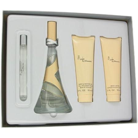 NUDE by Rihanna 4 pc Gift Set ~ EDP Spray, 3.4 oz & .34 oz