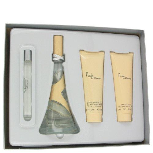 Nude by Rihanna by Rihanna Gift Set -- 3.4 oz Eau De Parfum Spray + 3 oz Body Lotion + 3 oz Shower Gel + .33 oz Mini EDP Spray for Women (0.33 Ounce Edp Spray)