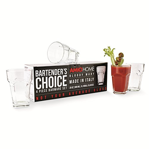 Amici Home Italian Bartenders Choice Bloody Mary Glass, 20oz, Set of 4