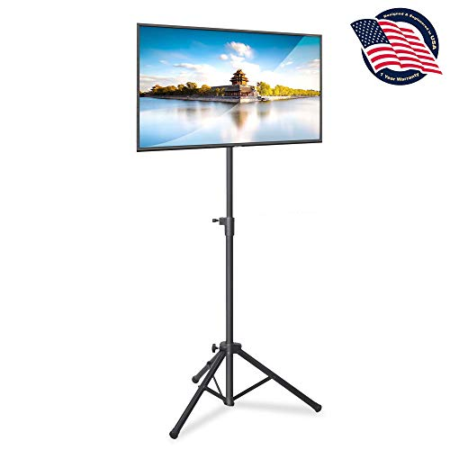 "Pyle Premium LCD Flat Panel TV Tripod, Portable TV Stand, Foldable Stand Mount, Fits LCD LED Flat Screen TV Up To 32"", Adjustable Height, 22 lbs Weight Capacity, Vesa 75x75, 100x100 (PTVSTNDPT3215)"