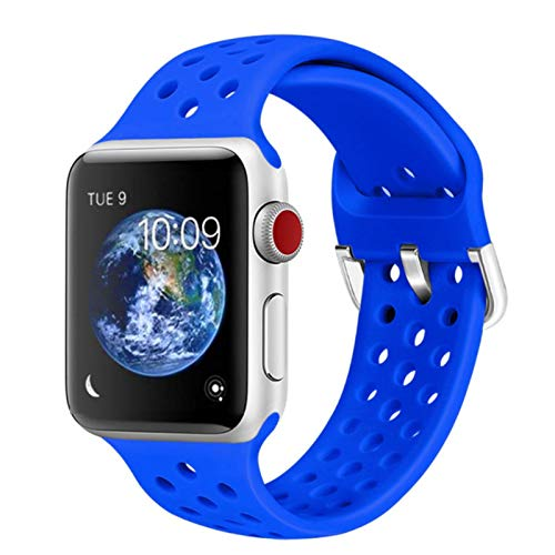 Correa de reloj Banda de goma para Apple Watch SE 6 4 5 40mm 44mm Correa de silicona suave deportiva transpirable para iWatch Series 5 4 3 2 1 38MM 42MM
