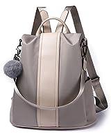 Women Backpack Purse Waterproof Nylon Anti-theft Rucksack Lightweight Shoulder Bag (Khaki)